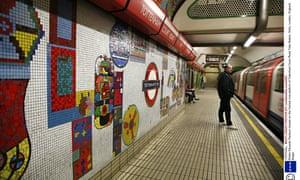 Eduardo Paolozzi mosaic on the Central Line platform of Tottenham Court Road Tube Station