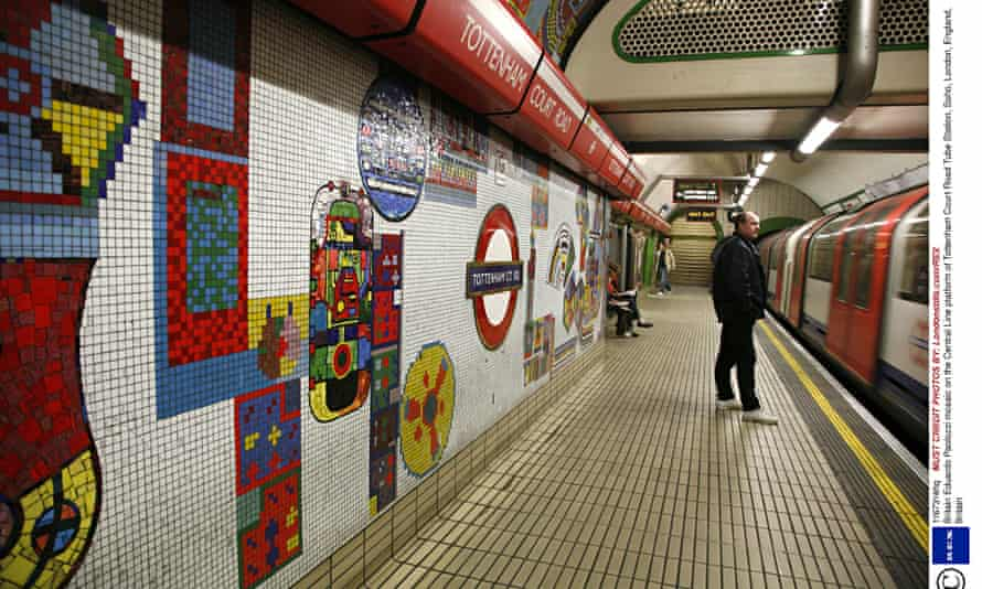Eduardo Paolozzi mosaic on the Central Line platform of Tottenham Court Road Tube Station