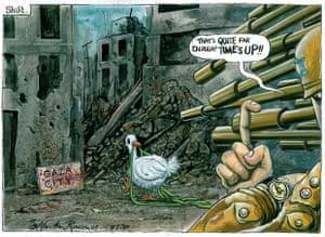 08.01.09: Martin Rowson on Israel's three-hour ceasefire in Gaza.