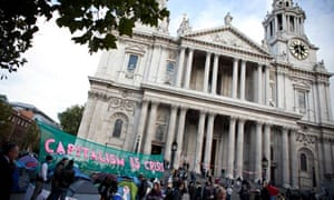 Protesters outside St Paul's Cathedral in London