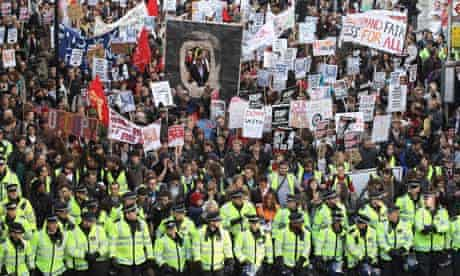 Students take part in a demonstration against higher tuition fees in London