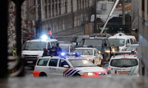 Ambulances at the scene of incident in Liege, Belgium