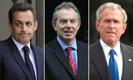 President Nicolas Sarkozy, Prime Minister Tony Blair, and President George W. Bush