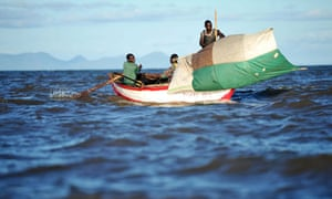 A fishing boat on Lake Malawi which is home to more than 500 species of fish