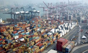 Container Port Number 9 on Tsing Li Island in Hong Kong