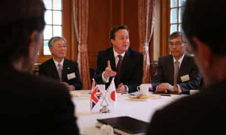 Prime Minister David Cameron meets with local business leaders in Tokyo, Japan