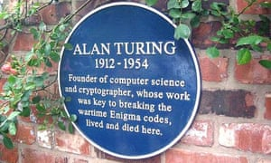 The blue plaque at Alan Turing's house on Adlington Road