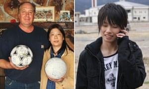 David and Yumi Baxter, left, found Misaki Murakami's soccer ball