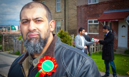 Alyas Karmani (RESPECT) campaigning on the Canterbury Estate in the Little Horton ward