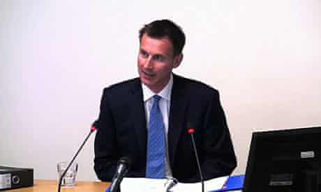 Culture Secretary Jeremy Hunt gives evidence at the Leveson Inquiry