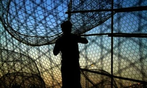 A fisherman works on fish traps at sunset in Malkiya village, Bahrain