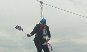 Boris Johnson on a zip wire, Victoria park, east London