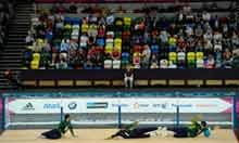 The Brazilians stop a shot during the Men's Group A Goalball match