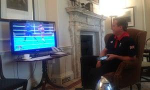 David Cameron watching the boxing