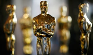 Oscar statuettes sit in a display case in Hollywood