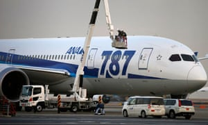 All Nippon Airways mechanics work on a Boeing 787 Dreamliner
