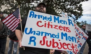 Matthew Streeter at a pro-gun rally in Baton Rouge