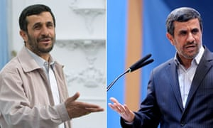 Iranian President Mahmoud Ahmadinejad in a white jacket and earlier this year