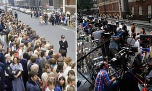Crowds outside St Mary's hospital in 1982 and today