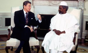 President Ronald Reagan welcomes the President of Chad, Hissene Habre