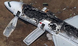 An Asiana Airlines Boeing 777 plane after it crashed while landing at San Francisco International Ai