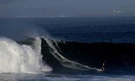 Professional surfer Nic Von Rupp rides a wave at Mullaghmore, County Sligo,  Ireland