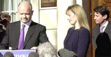 William and Ffion Hague outside Conservative central office after he resigned as Tory leader. Photo: Fiona Hanson, PA