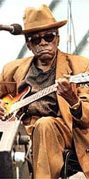 John Lee Hooker performs at the 1997 Playboy Jazz Festival at the Hollywood Bowl in Los Angeles. Photo: Reuters
