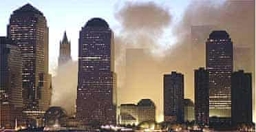 Dawn breaks over Lower Manhattan the day after destruction of the World Trade Centre