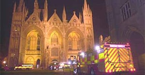 Fire crews tackle a blaze at Peterborough cathedral