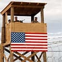 A watchtower on the US naval base in Guantanamo, Cuba