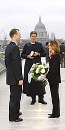 Do you take this man? The Rev Stephen Moss marries Leo Hickman and Jane Crinnion on the Millennium Bridge in London