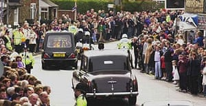A hearse carrying the Queen Mother's coffin