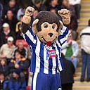 Stuart Drummond, dressed as the Hartlepool United football club mascot, who was elected as the town's mayor