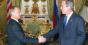 Russian president Vladimir Putin (right), and US president George Bush