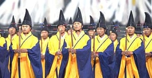 Korean artists perform during the opening ceremony of the World Cup