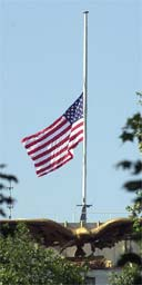 American flag at half mast outside the US embassy in London