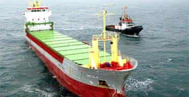 German-registered cargo ship Nicola after it crashed into the sunken ship Tricolor in the English Channel
