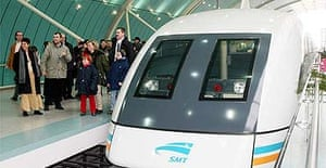 World's first passenger Transrapid Maglev high speed train at a station in China