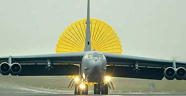 An American B-52 bomber lands at Fairford RAF base in Gloucestershire