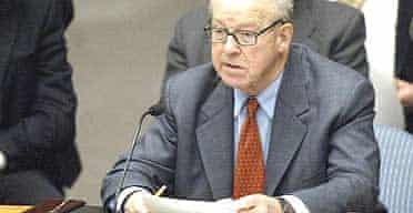 Hans Blix delivers a report on weapons inspections in Iraq