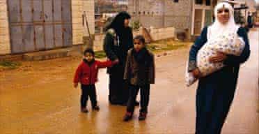 Palestinian women and children