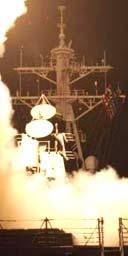 A US battleship fires TOmahawk missiles