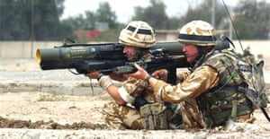 Irish Guards aim at targets as they continue to push against Iraqi loyalists in Basra