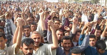 Shia Muslims protesting in Nassiriya