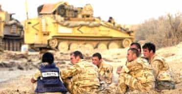 Guardian reporter Audrey Gillan with the Household Cavalry in the Iraqi desert