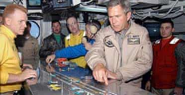 George Bush on the USS Abraham Lincoln
