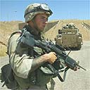 US soldiers patrol near Tikrit