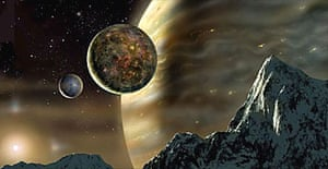 Artist's impression of the planets orbiting the star HD70642