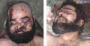 The bodies of Uday (left) and Qusay Hussein
